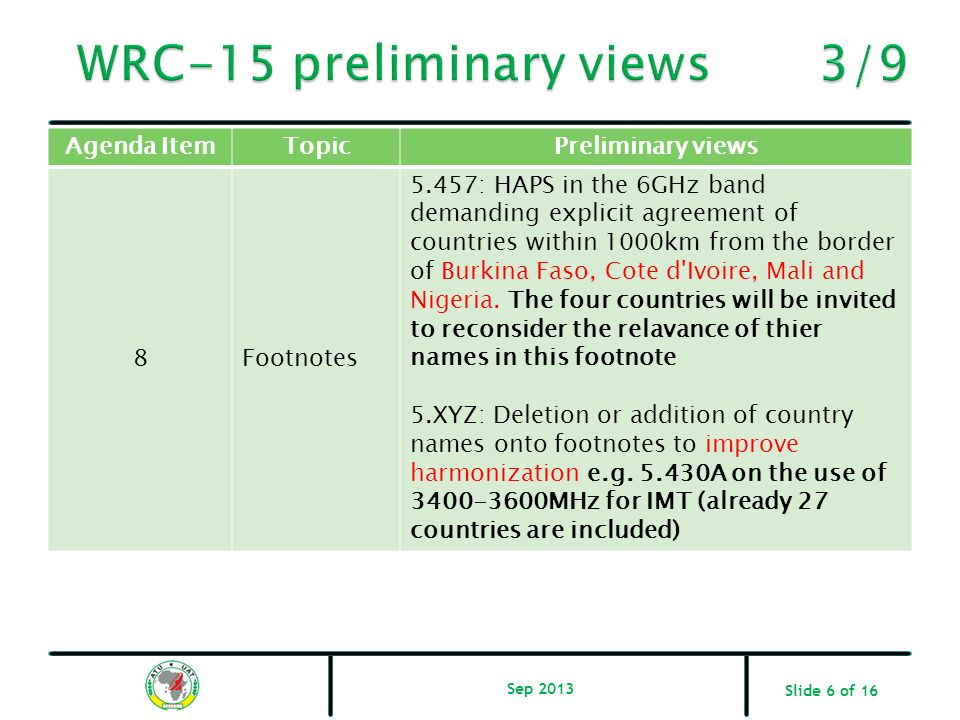 WRC-15 preliminary views 3/9