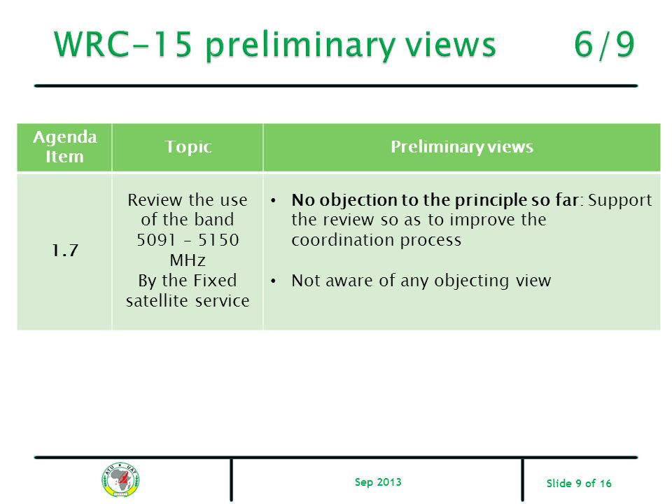 WRC-15 preliminary views 6/9