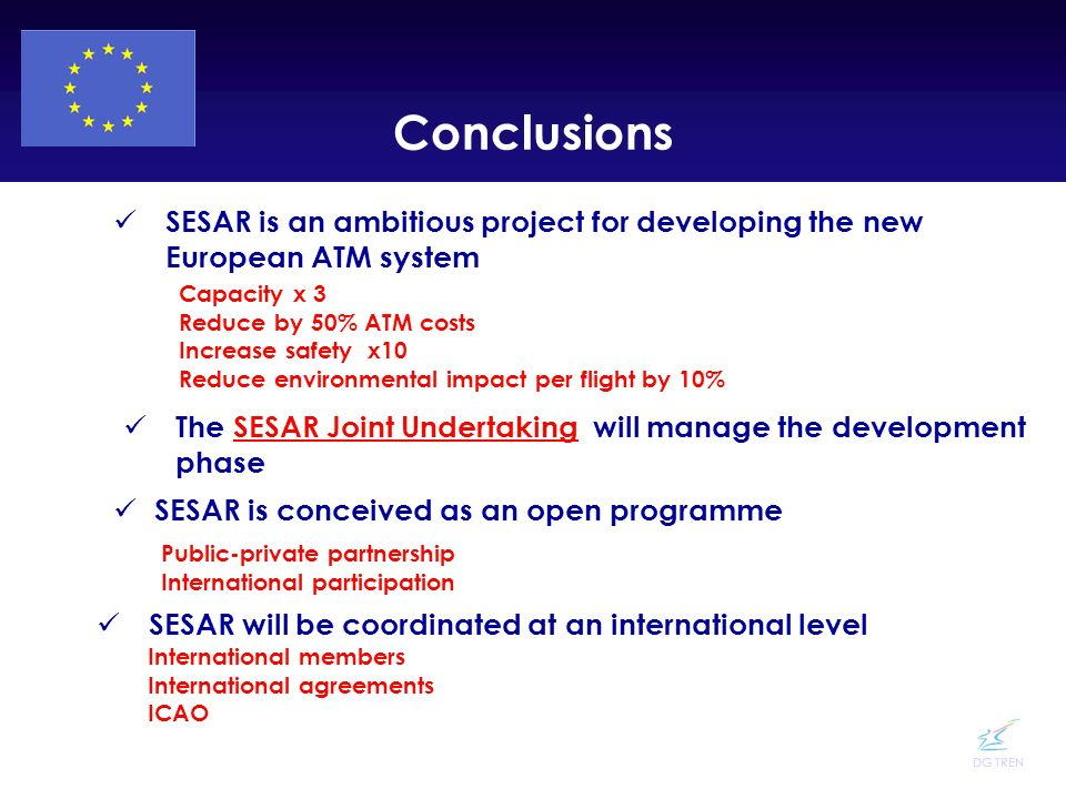 Conclusions SESAR is an ambitious project for developing the new European ATM system. Capacity x 3.