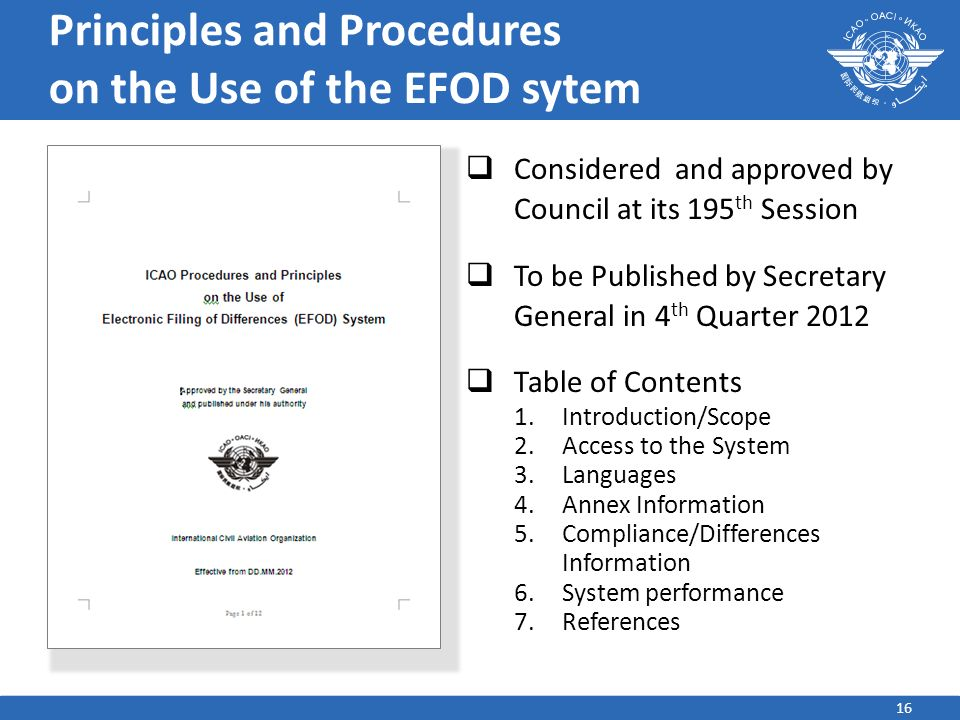 Principles and Procedures on the Use of the EFOD sytem