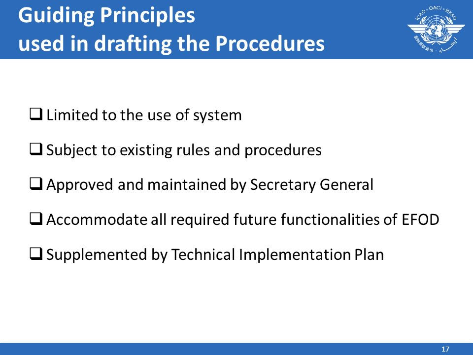 Guiding Principles used in drafting the Procedures