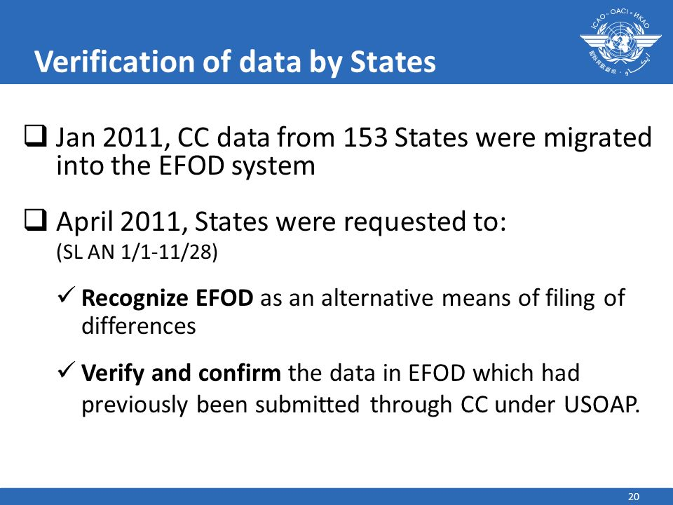 Verification of data by States