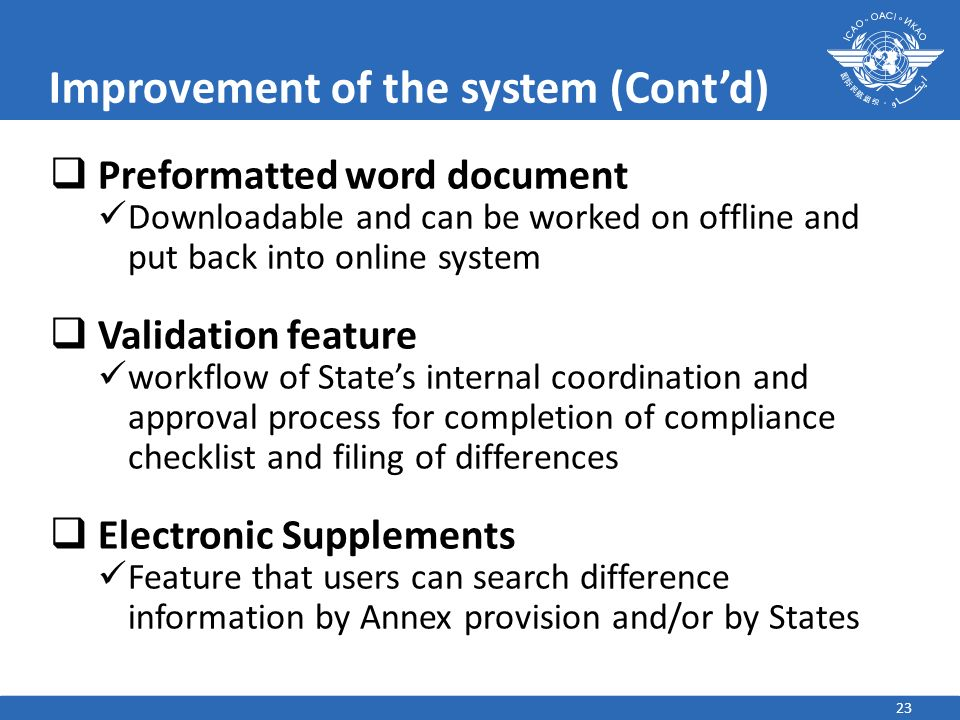 Improvement of the system (Cont'd)