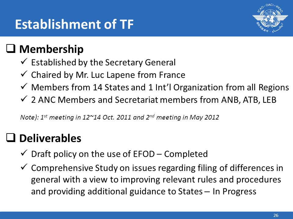 Establishment of TF Membership Deliverables