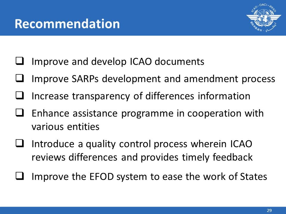 Recommendation Improve and develop ICAO documents