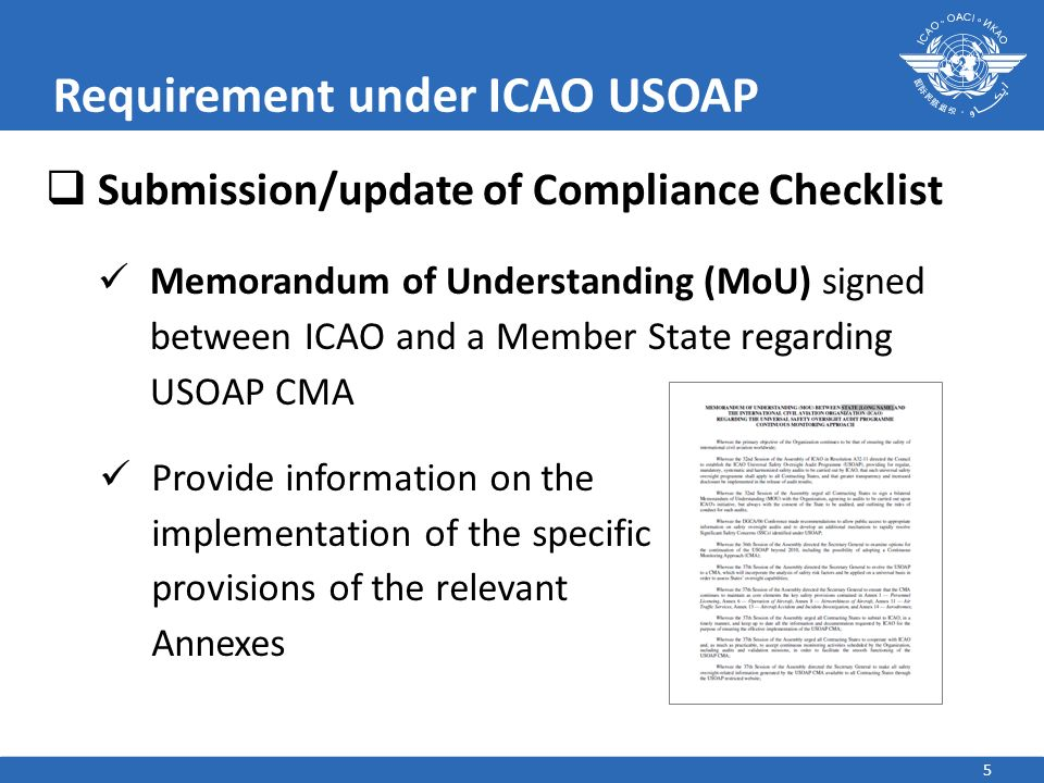Requirement under ICAO USOAP