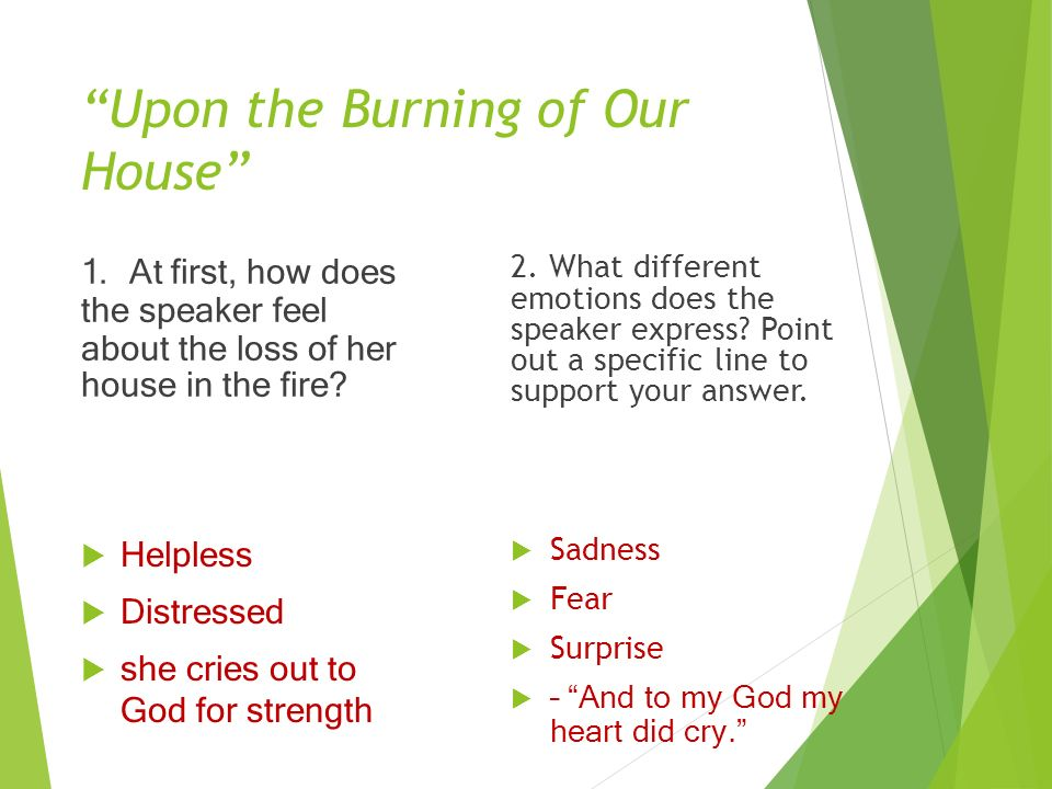 An analysis of anne bradstreets poem upon the burning of our house