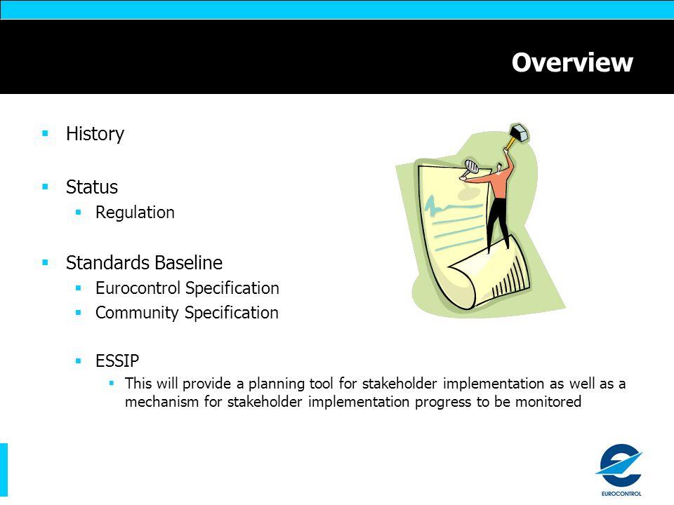 Overview History Status Standards Baseline Regulation