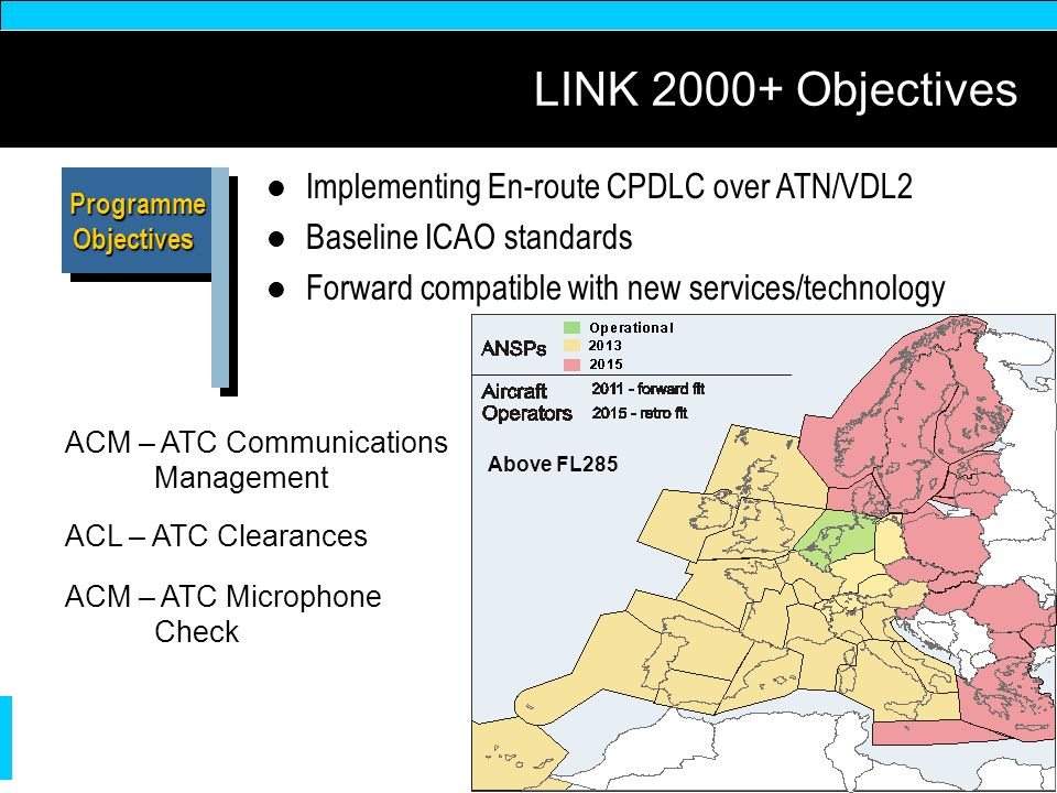 LINK 2000+ Objectives Implementing En-route CPDLC over ATN/VDL2