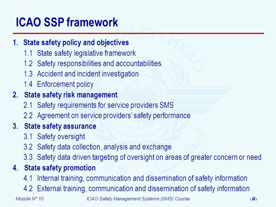 ICAO SSP framework State safety policy and objectives