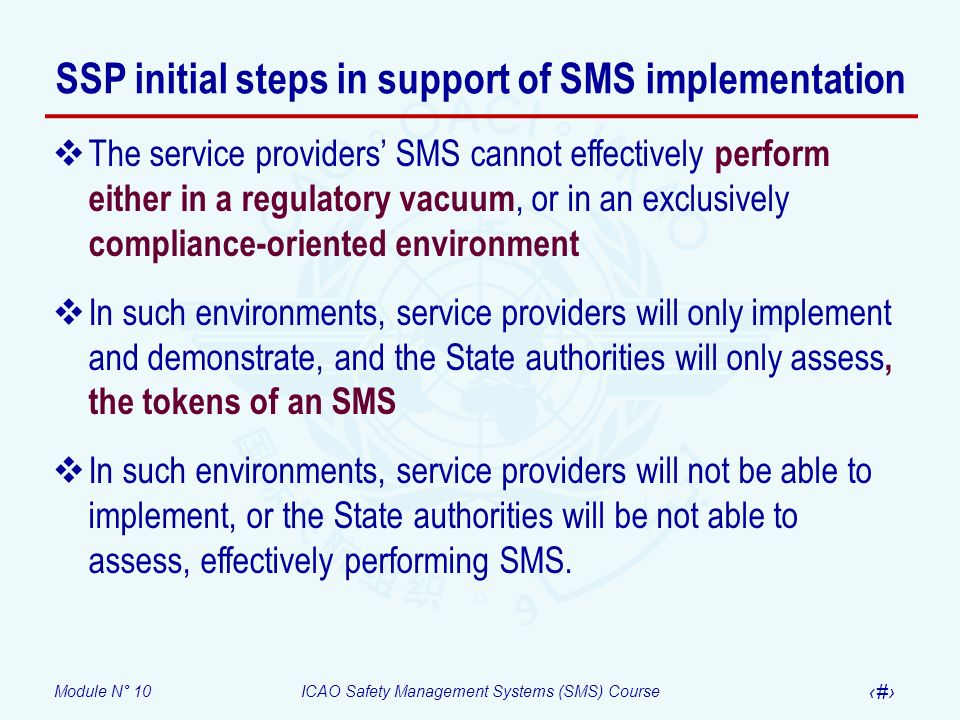 SSP initial steps in support of SMS implementation