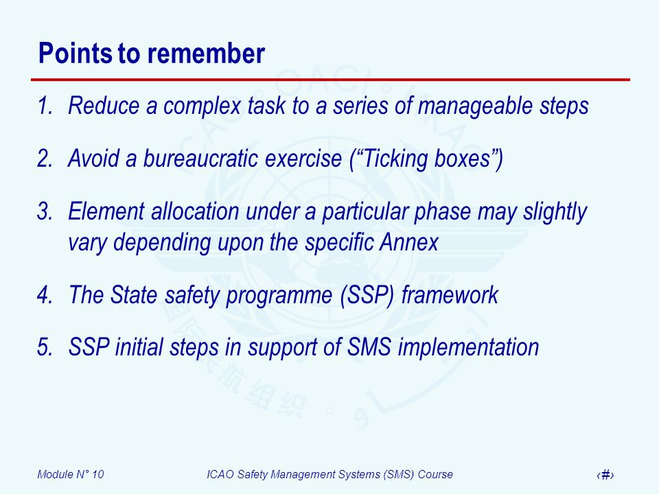 Points to remember Reduce a complex task to a series of manageable steps. Avoid a bureaucratic exercise ( Ticking boxes )