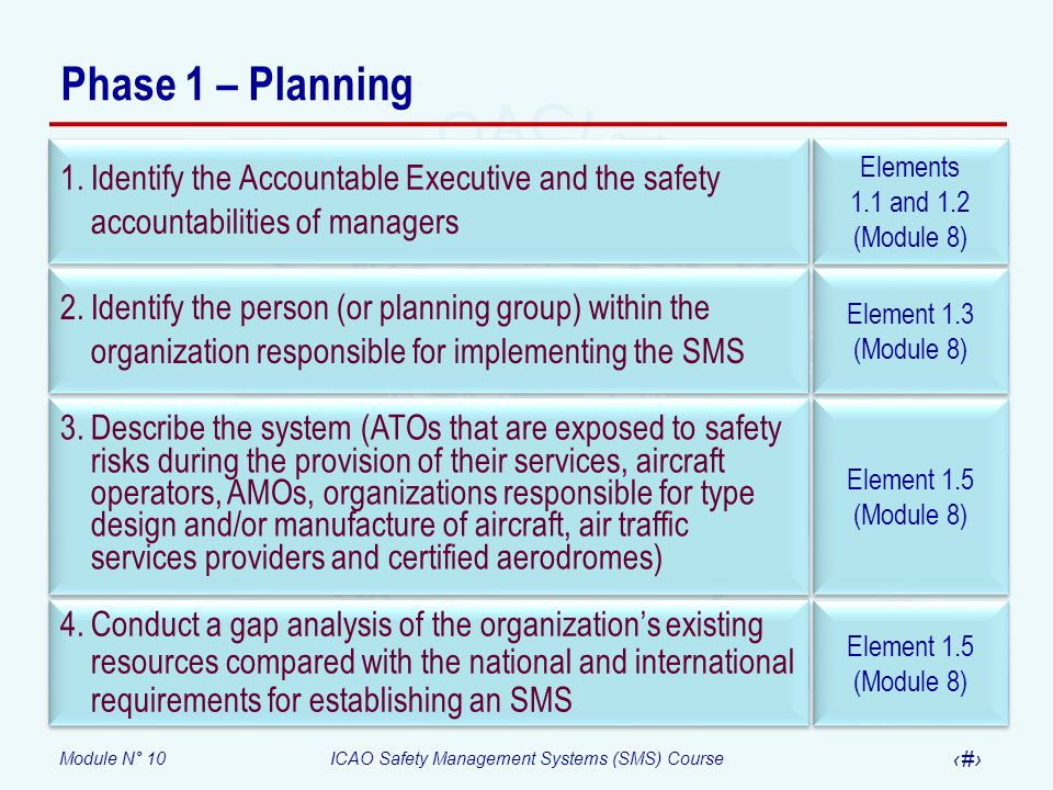 Phase 1 – Planning Identify the Accountable Executive and the safety accountabilities of managers. Elements.