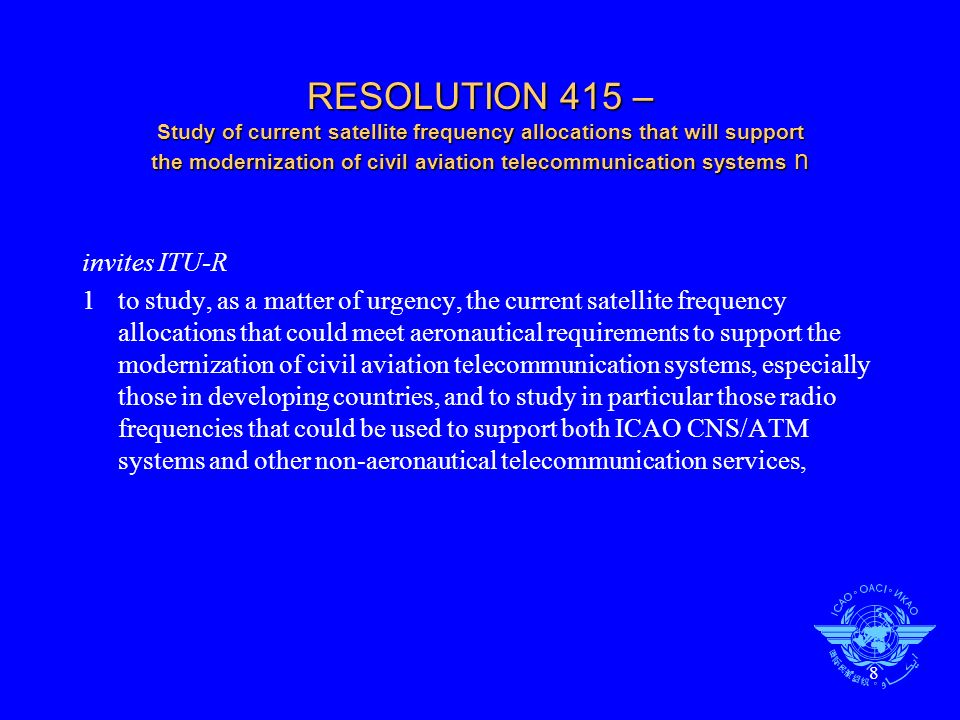 RESOLUTION 415 – Study of current satellite frequency allocations that will support the modernization of civil aviation telecommunication systems n