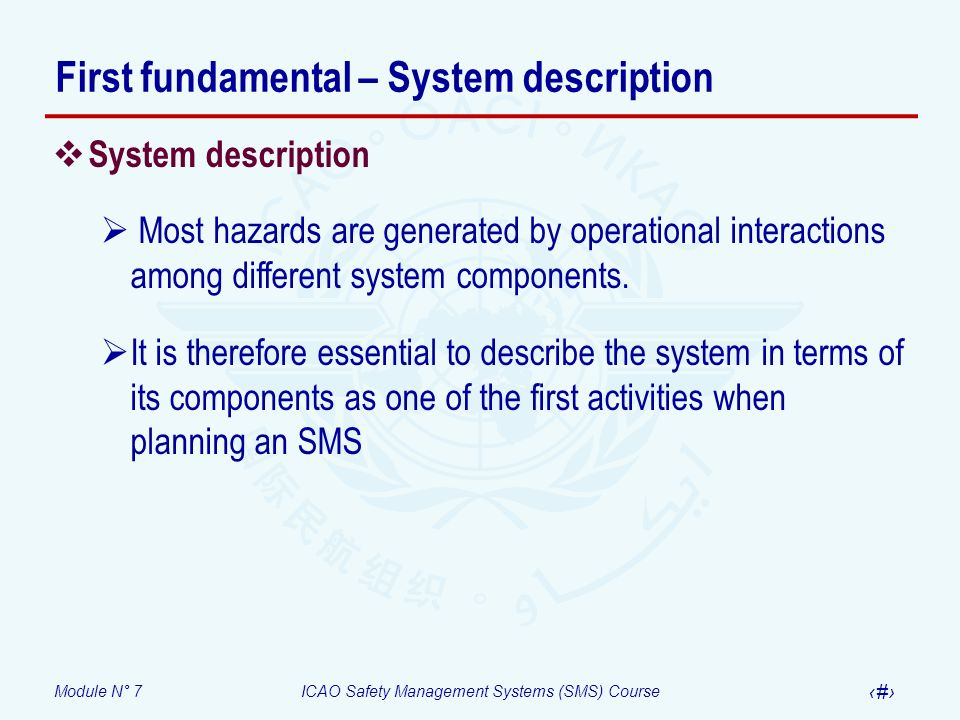 First fundamental – System description