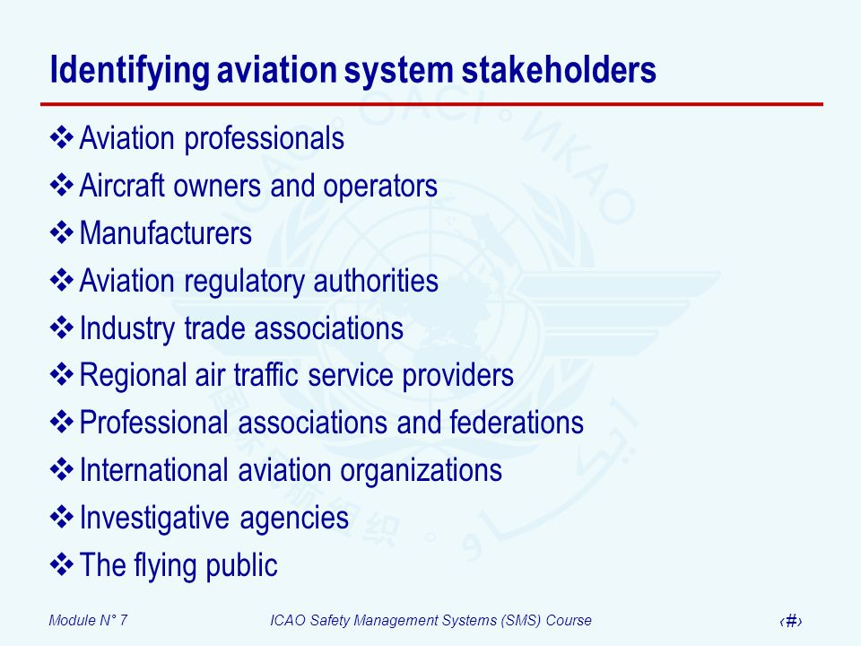 Identifying aviation system stakeholders