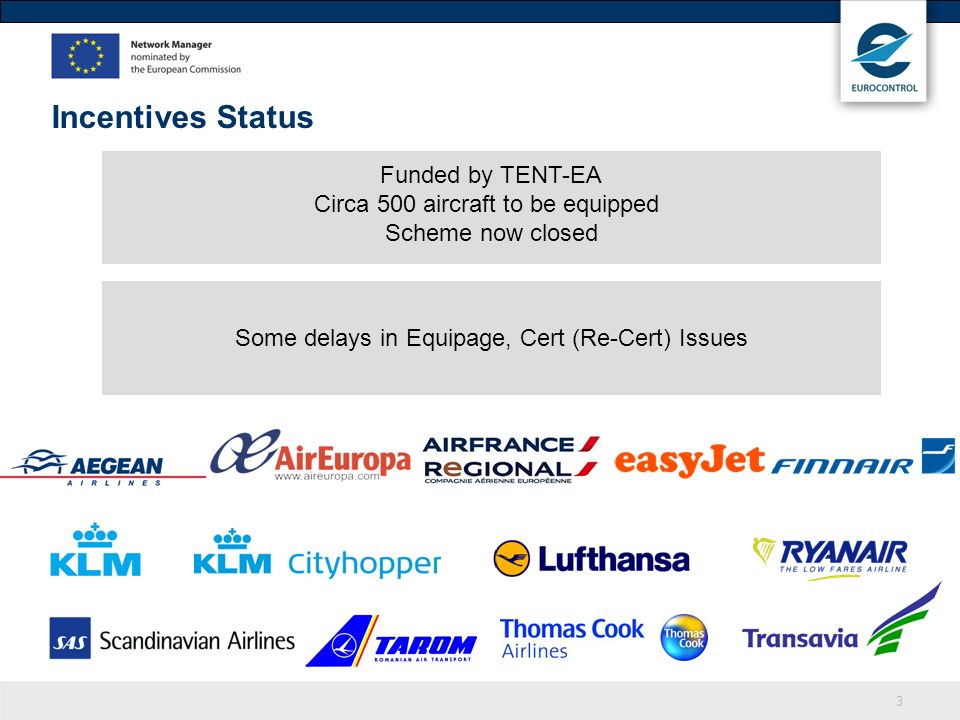 Incentives Status Funded by TENT-EA Circa 500 aircraft to be equipped