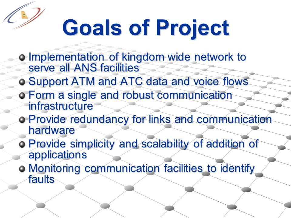 Goals of Project Implementation of kingdom wide network to serve all ANS facilities. Support ATM and ATC data and voice flows.