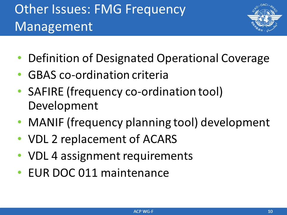 Other Issues: FMG Frequency Management