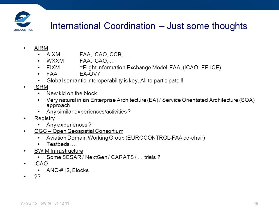 International Coordination – Just some thoughts