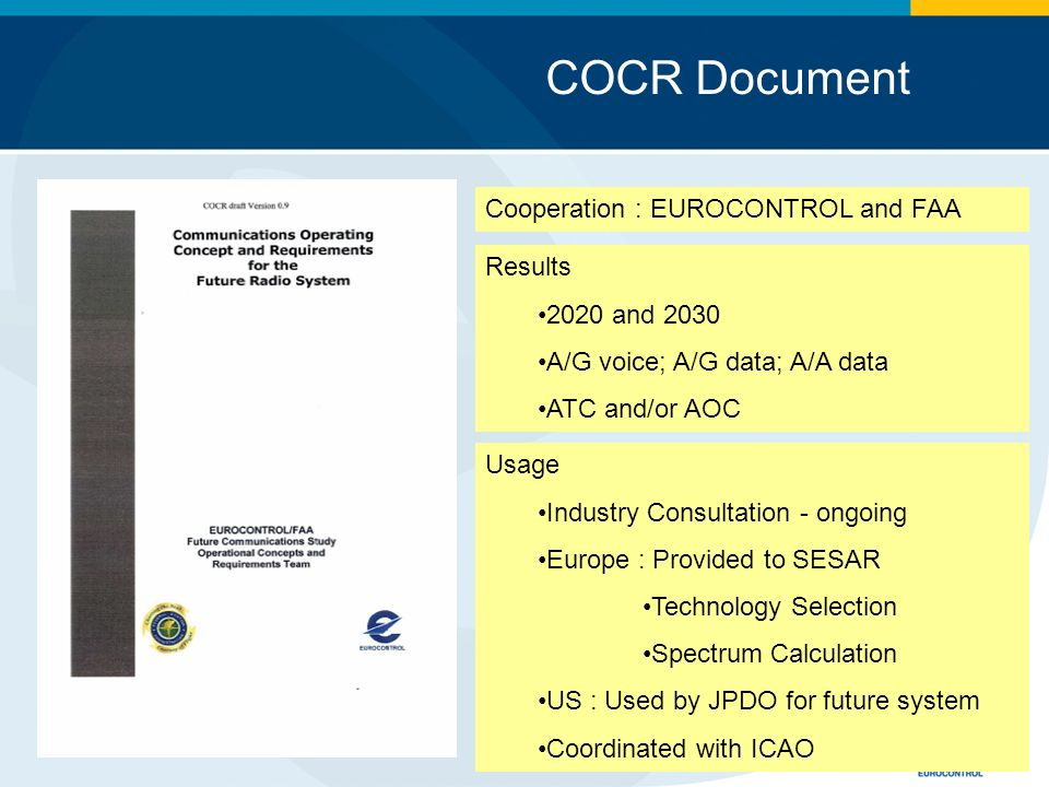 COCR Document Cooperation : EUROCONTROL and FAA Results 2020 and 2030