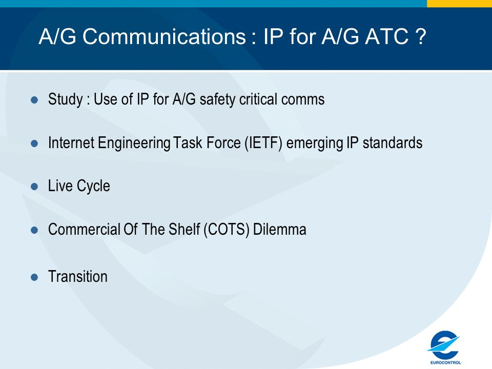 A/G Communications : IP for A/G ATC