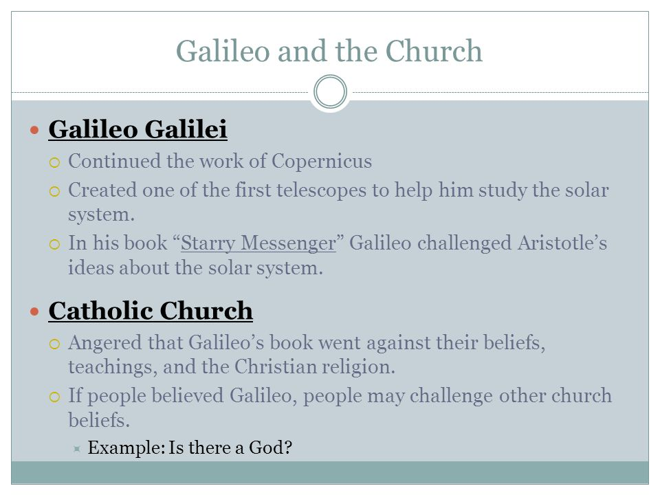 an analysis of the issue of the catholic church and galileo galilei In 1633, the inquisition of the roman catholic church forced galileo galilei, one of the founders of modern science, to recant his theory that the earth moves around the sun under threat of .