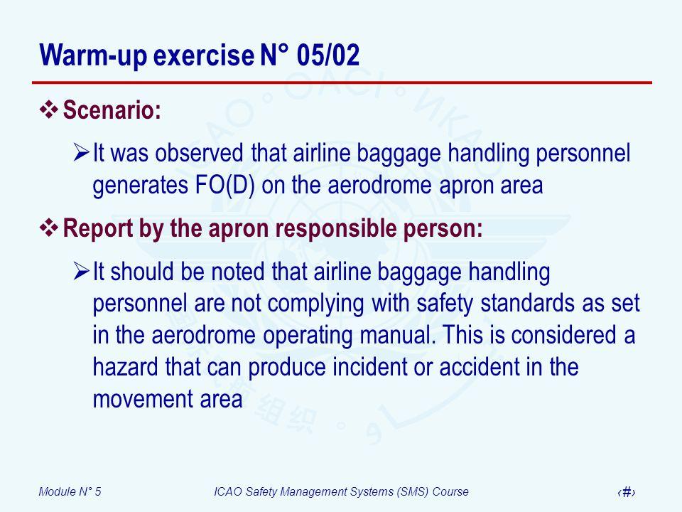 Warm-up exercise N° 05/02 Scenario: