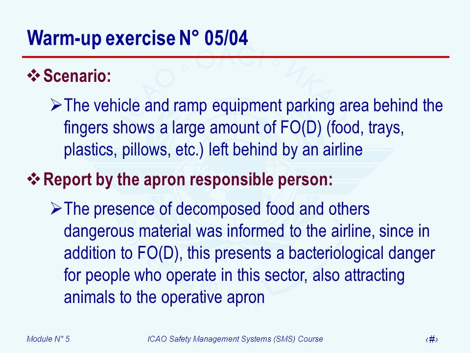 Warm-up exercise N° 05/04 Scenario: