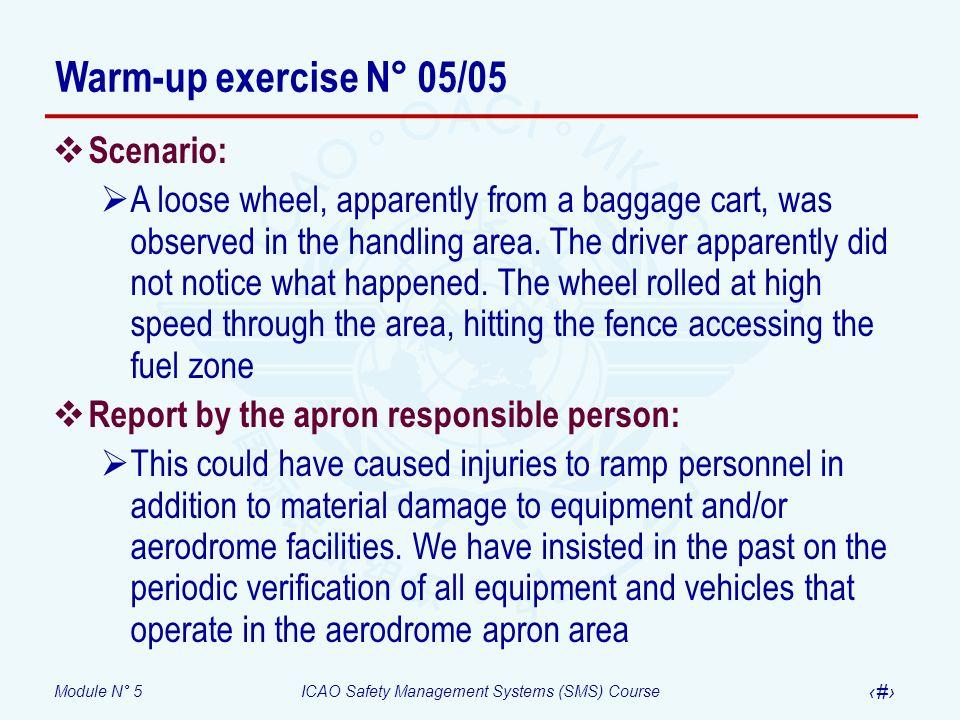 Warm-up exercise N° 05/05 Scenario: