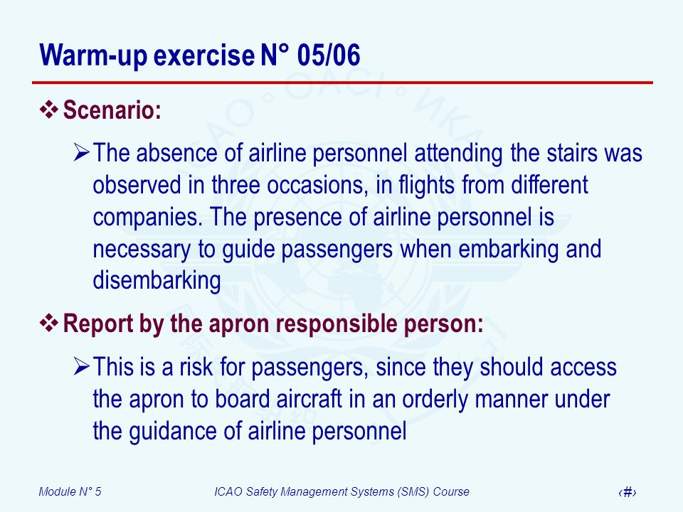 Warm-up exercise N° 05/06 Scenario: