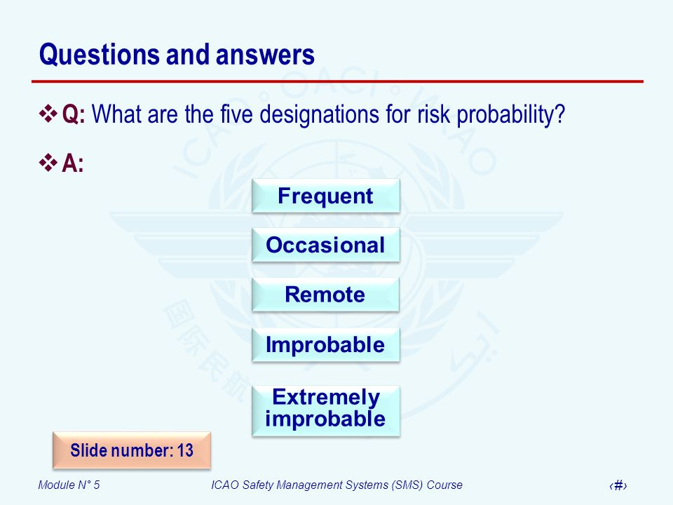 Questions and answers Q: What are the five designations for risk probability A: Improbable. Frequent.