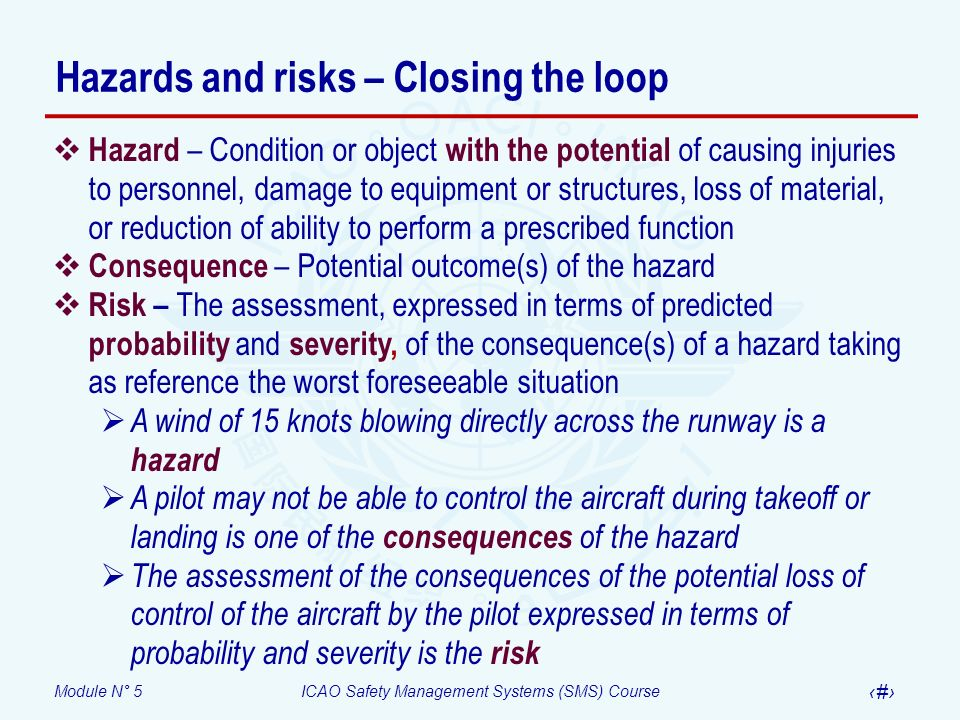 Hazards and risks – Closing the loop