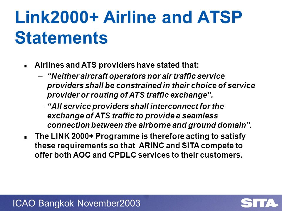 Link2000+ Airline and ATSP Statements