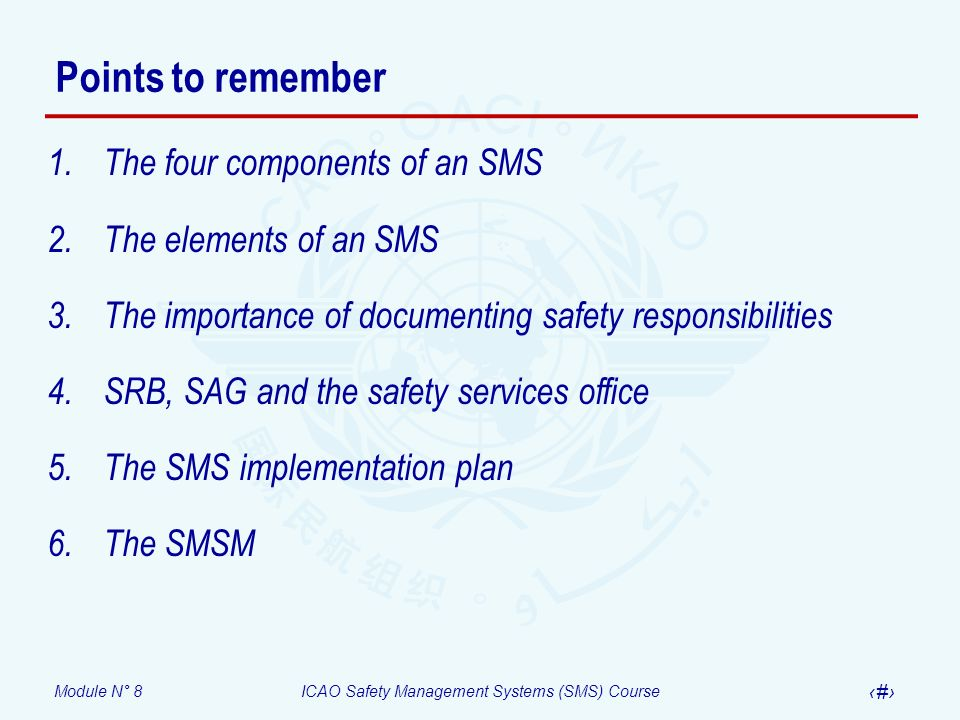 Points to remember The four components of an SMS