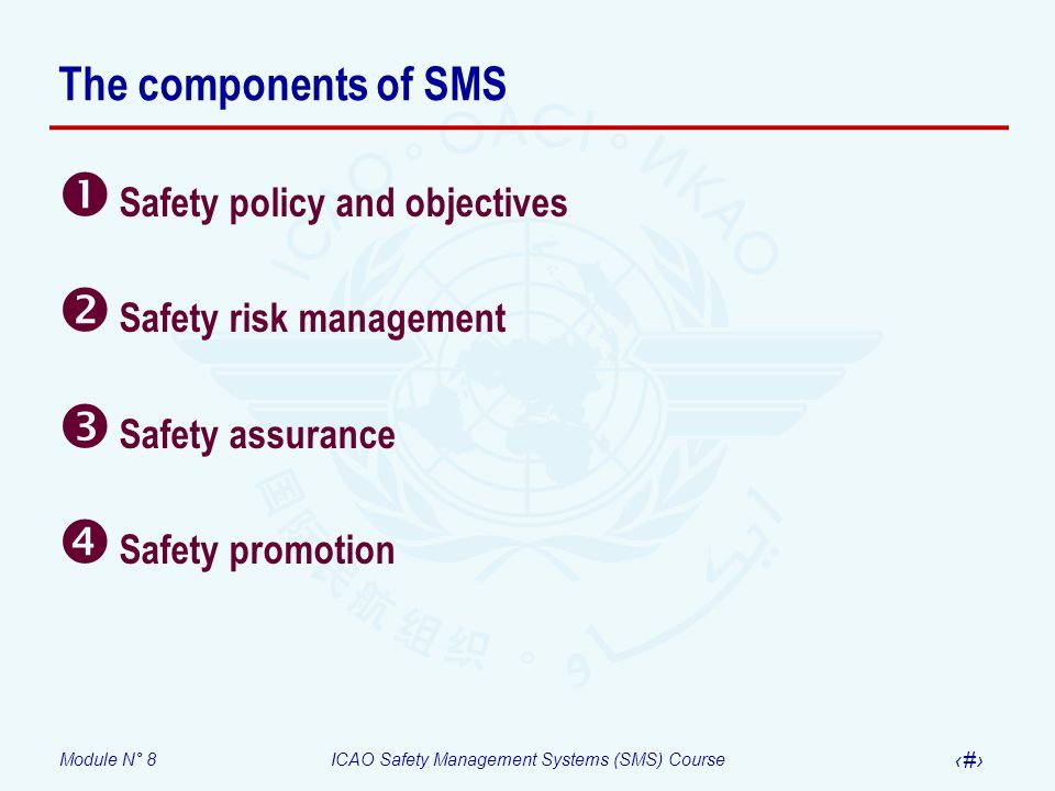 The components of SMS Safety policy and objectives