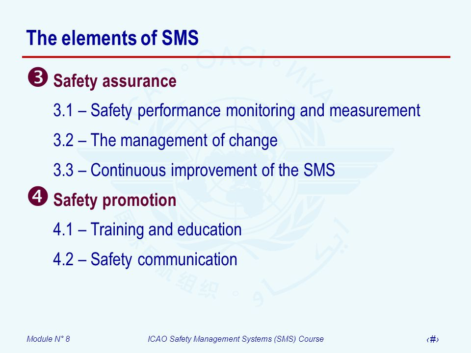 The elements of SMS Safety assurance