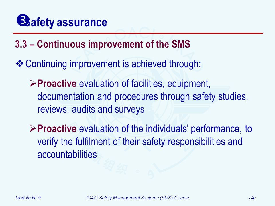 Safety assurance 3.3 – Continuous improvement of the SMS
