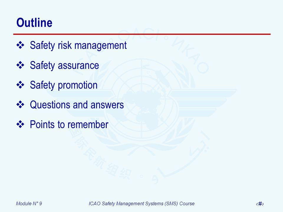 Outline Safety risk management Safety assurance Safety promotion
