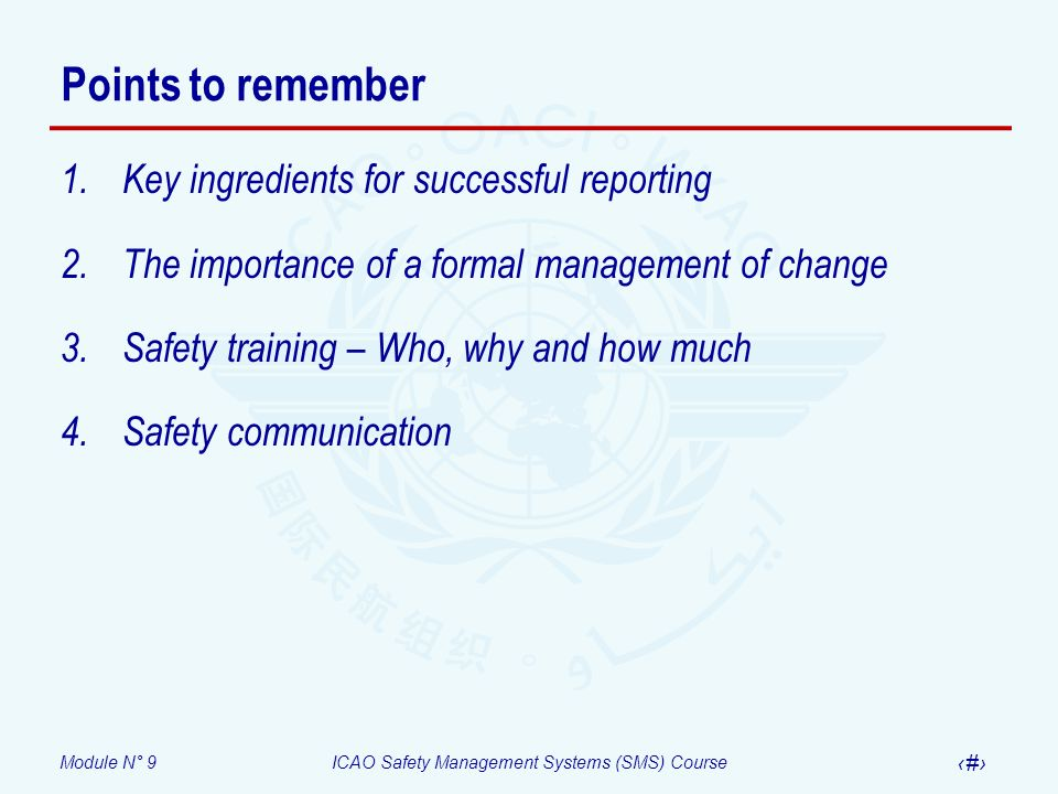 Points to remember Key ingredients for successful reporting