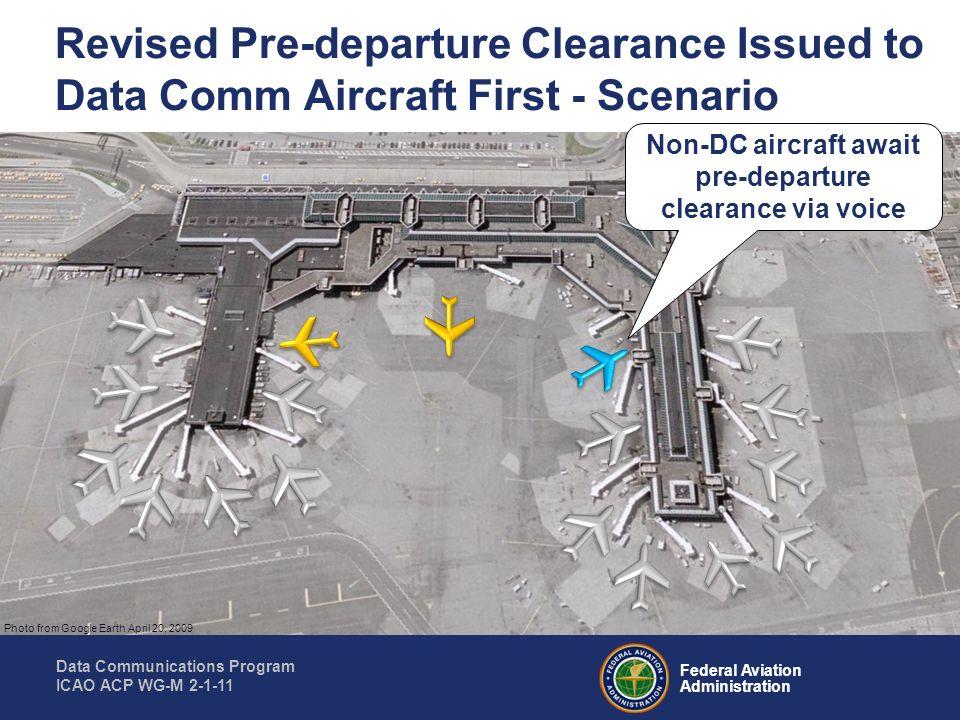 Non-DC aircraft await pre-departure clearance via voice