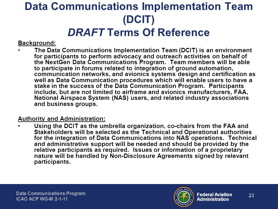 Data Communications Implementation Team (DCIT) DRAFT Terms Of Reference