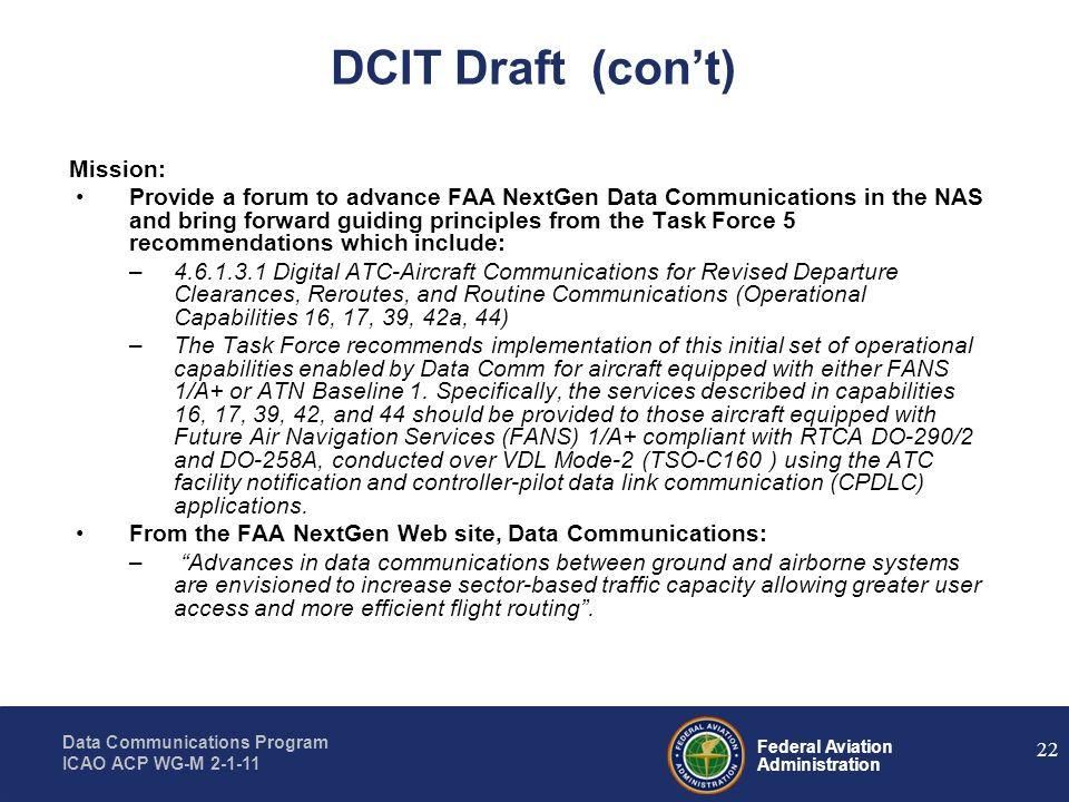 DCIT Draft (con't) Mission: