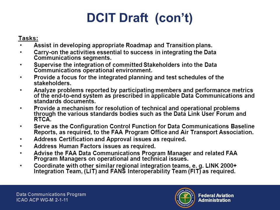 DCIT Draft (con't) Tasks: