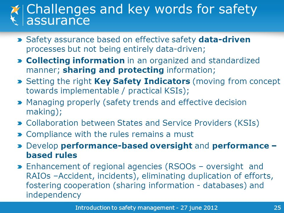 Challenges and key words for safety assurance