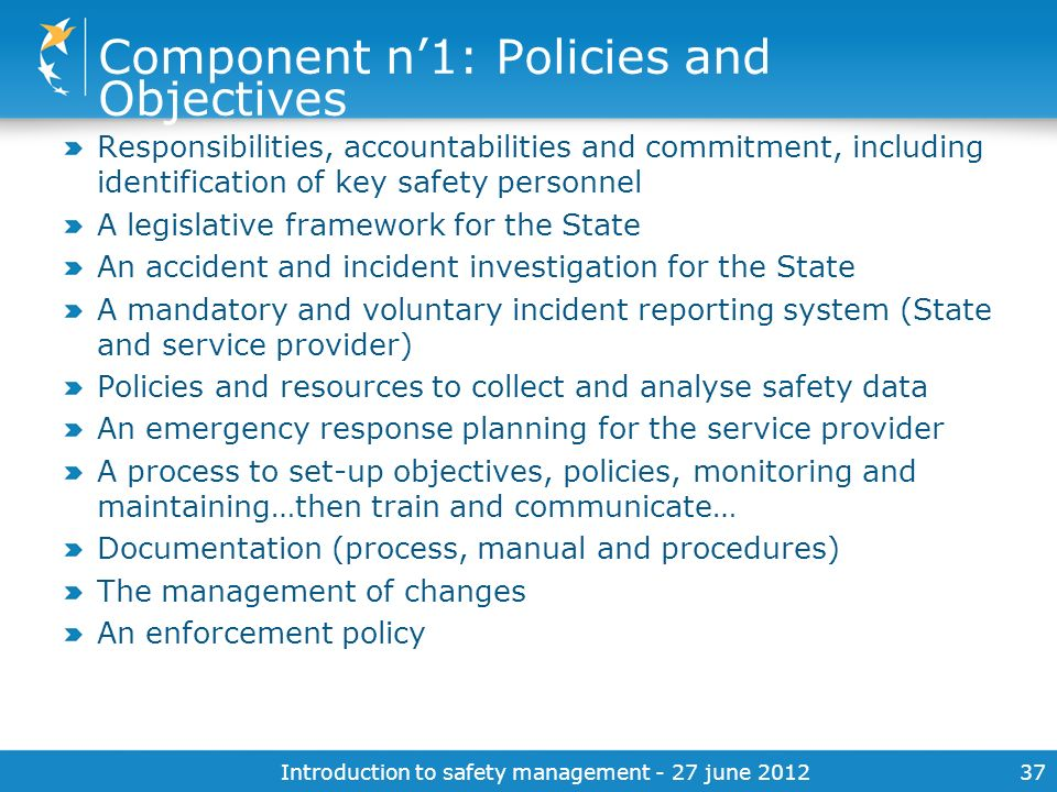 Component n'1: Policies and Objectives