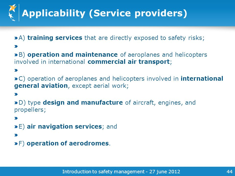 Applicability (Service providers)