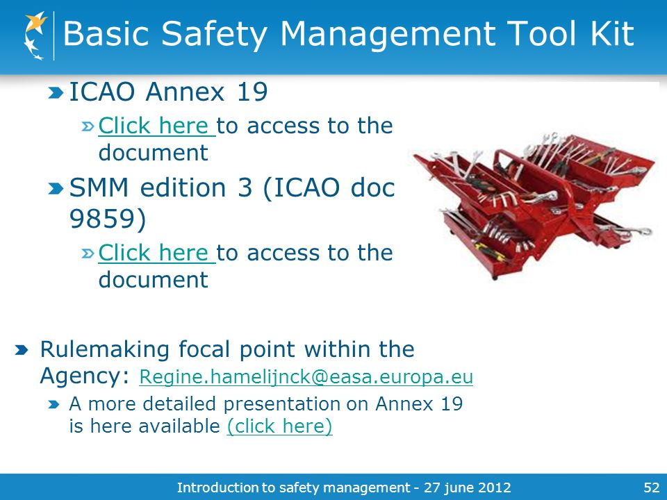 Basic Safety Management Tool Kit