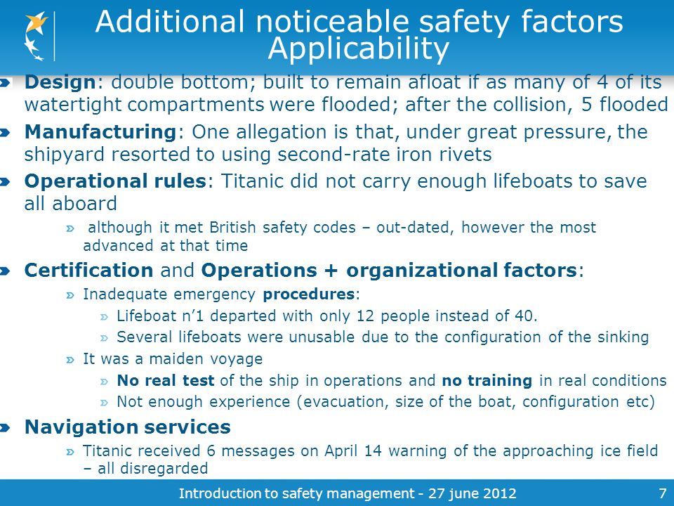 Additional noticeable safety factors Applicability