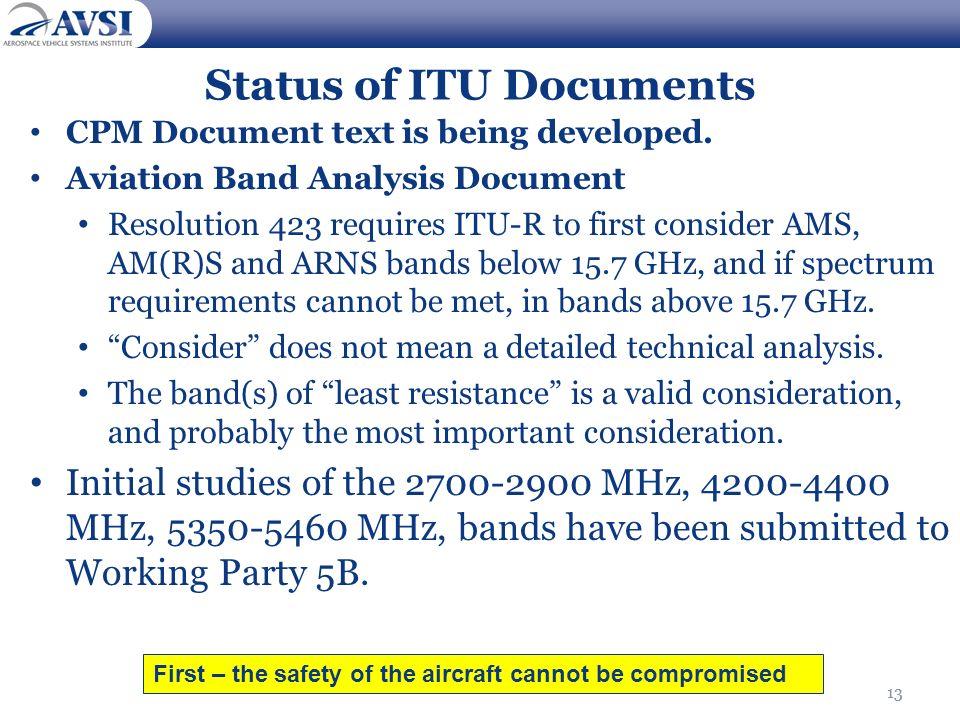 Status of ITU Documents